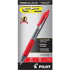 Gel Pen-Retractable-Pilot-Fine Point-0.7 mm-Red