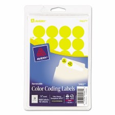 Avery Dot Label-Yellow-3/4""