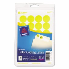 Avery Dot Label-Yellow Glow-3/4""