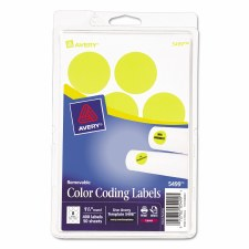 Avery Dot Label-Yellow Glow-1 1/4""