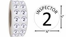 Round Size Sticker Label, Sz 1/2, Inspection 2