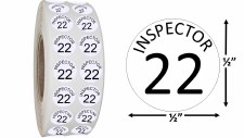 Round Size Sticker Label, Sz 1/2, Inspection 21