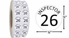 Round Size Sticker Label, Sz 1/2, Inspection 26