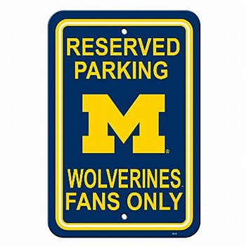 University of Michigan Sign - Plastic Parking Sign 12''x18''