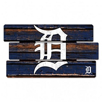 "Detroit Tigers Sign - Wood D Logo Sign 14""x25"" 3/8"" Thick"