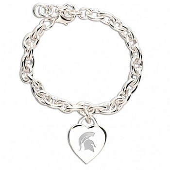 Michigan State University Bracelet with Heart Charm