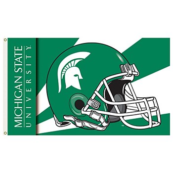 Michigan State University Flag - Spartans Football Helment with Grommets 3' x 5'