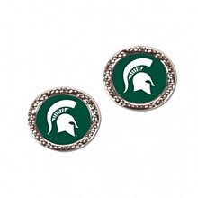 Michigan State University Earirings Round Spartan