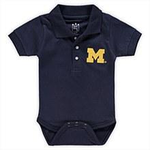 University of Michigan Infant Polo Romper Bodysuit Navy 12 Mos