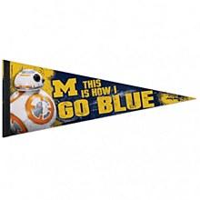 University of Michigan Pennant - Star Wars BB-8 12'' x 30''