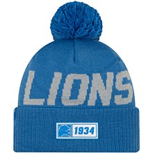 Detroit Lions Men's Sideline Road Sport Pom Knit Hat