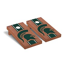 Michigan State Spartans Regulation Cornhole Game Set Rosewood Stained Stripe Version