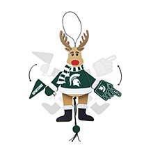 Michigan State University Ornament - Spartans Wooden Cheering Reindeer 5''