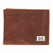 University of Michigan Wallet Bi Fold Leather - Brown