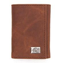 Michigan State University Wallet Brown Tri Fold Leather