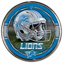Detroit Lions Clock - 12'' Chrome