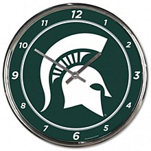 Michigan State University Clock - 12'' Chrome