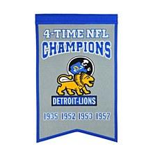 Detroit Lions Banner - Lions 4 Time NFL Champions 22'' x 14''