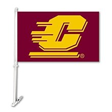 Central Michigan University Car Flag W/Wall Brackett