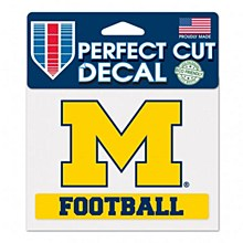 "University of Michigan Decal Perfect Cut Football 4.5"" x 5.75"""