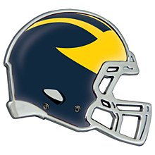 University of Michigan Emblem Chrome Metal Helment Shaped