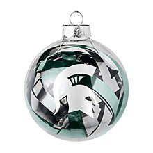 Michigan State University Ornament - Spartans Tinsel Ball 3.25'' Diameter
