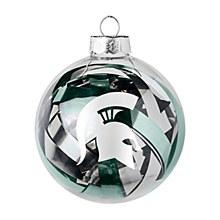 Michigan State University Ornament - Spartans Tinsel Ball 3.25'' Diameter