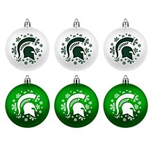 Topperscot Michigan State University Ornaments - Official NCAA Holiday Christmas 6 Pack Shatterproof Ornamentc