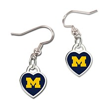 University of Michigan Earrings Dangle 3D Heart