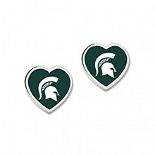 Michigan State University Heart Shaped Pennant earrings