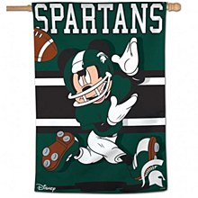Michigan State University Banner Flag Vertical Football Mickey Mouse 28''x40''