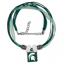 Michigan State University Necklace -  Lifetile Ribbon Necklace w/Beads