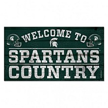 Michigan State University Sign  - Welcome To Spartans Country Wood Sign 13''x24''