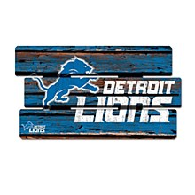 Detroit Lions Sign - Wood Painted Fence Sign 14''x25''