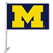 University of Michigan Car Flag W/Wall Brackett