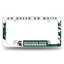 Michigan State University License Plate Frame All Over Chrome