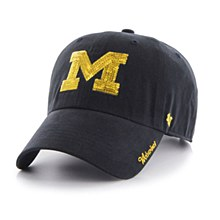 University of Michigan Hat - Wolverines Navy Blue Sparkle Clean Up Womens Adjustable Hat