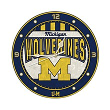 University of Michigan 12in Art Glass Clock