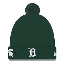 Detroit Tigers Hat - Green Michigan State Spartans Co-Branded Pom Cuff Knit Cap