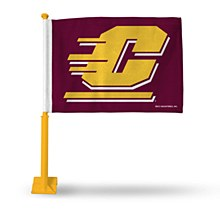 Central Michigan University car flag with gold colored pole