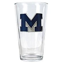 University of Michigan Pint Glass 16oz with Metal Emblem