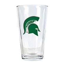 Michigan State University Glass 16oz Pint Glass w/ Metal Emblem
