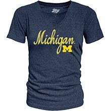 University of Michigan Women's Tri-Blend V-Neck Tee Navy