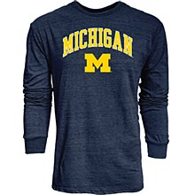 University of Michigan Men's Tri Blend Long-Sleeve Tee Navy
