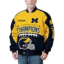 Michigan Wolverines Navy Commemorative Cotton Twill Full-Zip Jacket
