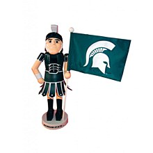 Michigan State University Mascot Nut Cracker With Flag
