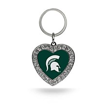 Michigan State Rhinestone Heart Key Chain