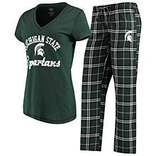 Women's Concepts Sport Green Michigan State Spartans Duo V-Neck T-Shirt and Flannel Pants Sleep Set
