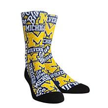 University of Michigan Socks - Logo Sketch Blue Crew