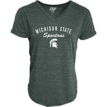 Michigan State University Women's V-Neck Tee with Rolled Sleeve
